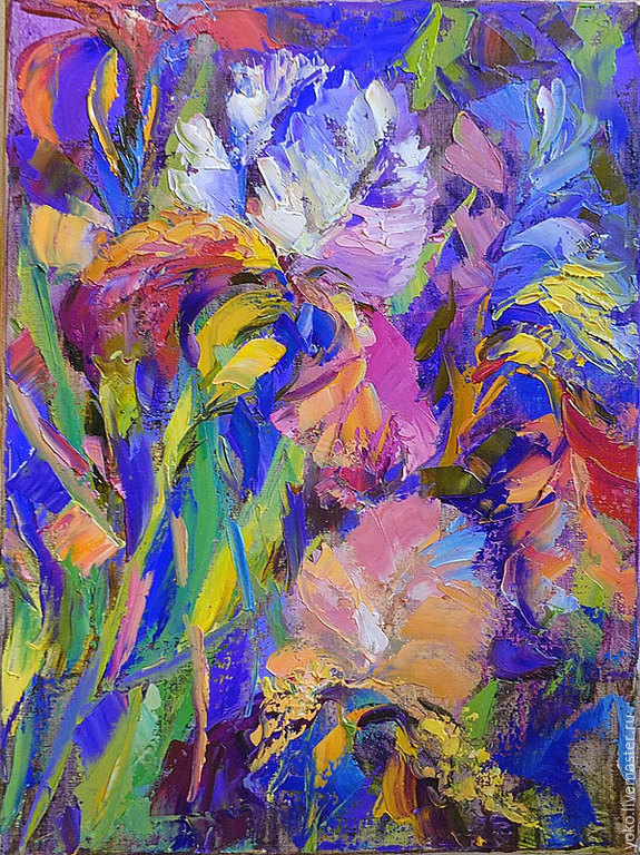 'Abstract Irises' oil painting on canvas, Pictures, Voronezh,  Фото №1