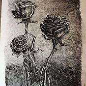 """Картины и панно ручной работы. Ярмарка Мастеров - ручная работа Графика """"Розы"""". Handmade."""