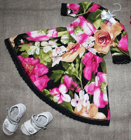 Одежда для девочек, ручной работы. Ярмарка Мастеров - ручная работа. Купить Платье для девочки 3-4 лет из хлопка. Handmade.