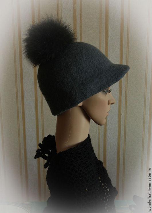 """Шляпы ручной работы. Ярмарка Мастеров - ручная работа. Купить Кепка-жокейка """"Асфальтовая река"""". Handmade. Шляпка валяная, жокейка"""