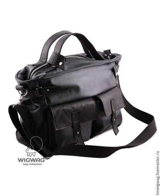 Мужские сумки ручной работы. Ярмарка Мастеров - ручная работа. Купить Вместительная сумка из натуральной кожи. Handmade. Черный