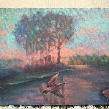 Картины и панно ручной работы. Ярмарка Мастеров - ручная работа «Утиная история» картина маслом. Handmade.