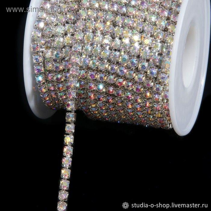 Стразовая нить SS8 - 2,5мм серебро, crystal AB, Шнуры, Челябинск,  Фото №1