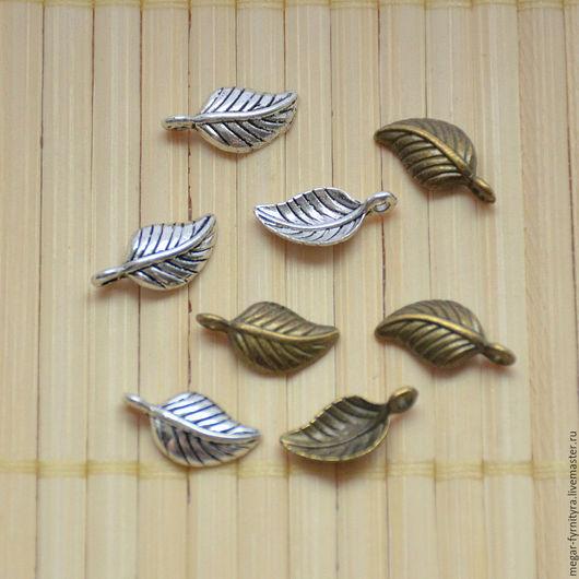 Для украшений ручной работы. Ярмарка Мастеров - ручная работа. Купить Подвески листик малый 15 x 7 мм. Handmade.