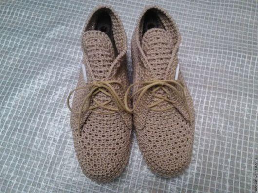 Обувь ручной работы. Ярмарка Мастеров - ручная работа. Купить Вязаные ботиночки.. Handmade. Кремовый