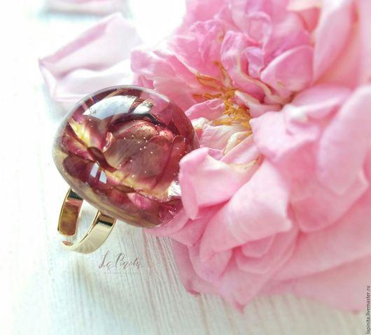 Кольца ручной работы. Ярмарка Мастеров - ручная работа. Купить Кольцо с настоящим цветком Гелихризума.. Handmade. Бордовый, крупное кольцо