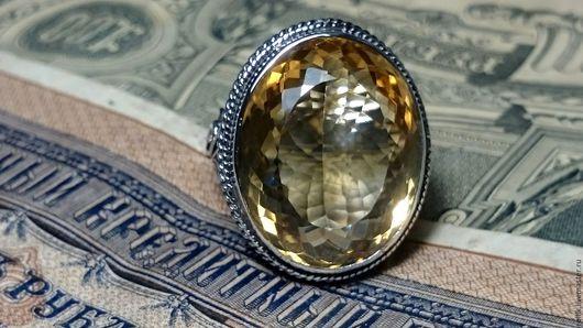 Кольца ручной работы. Ярмарка Мастеров - ручная работа. Купить Авторское кольцо с крупным с крупным, золотым цитрином.. Handmade.