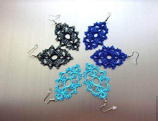 """Серьги ручной работы. Ярмарка Мастеров - ручная работа. Купить Кружевные серьги """"Анжела"""" голубые нежные серьги плетеные. Handmade."""