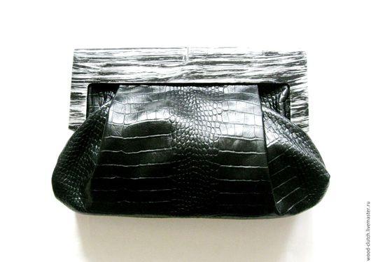 """Женские сумки ручной работы. Ярмарка Мастеров - ручная работа. Купить Клатч из  кожи """" Black """" с серебристым замком. Handmade."""