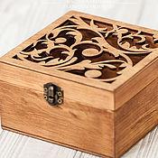 Свадебный салон handmade. Livemaster - original item Jewelry box for rings carved brown Monarch. Handmade.