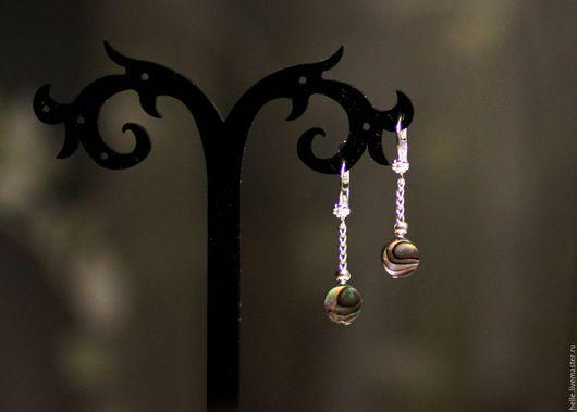 Серьги ручной работы. Ярмарка Мастеров - ручная работа. Купить Серьги на цепочке серебро 925 с галиотисом(гелиотисом) Радужные сны. Handmade.