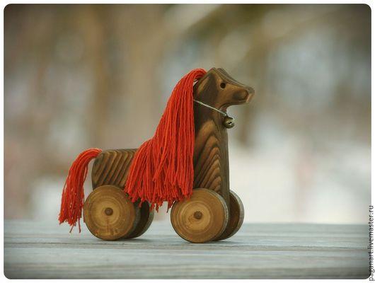 Игрушки животные, ручной работы. Ярмарка Мастеров - ручная работа. Купить Деревянная лошадка-игрушка на колёсиках. Handmade. игрушка для девочки