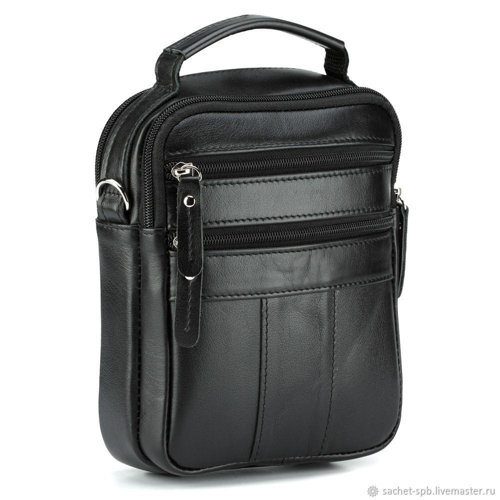 Leather bag 'Dali' (black), Men\'s bag, St. Petersburg,  Фото №1