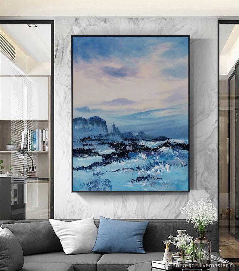 Картины маслом на холсте Большая синяя абстрактная живопись, Картины, Санкт-Петербург,  Фото №1
