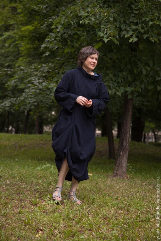 Платья ручной работы. Ярмарка Мастеров - ручная работа. Купить Платье шерстяное Круги. Handmade. Тёмно-синий, необычное платье
