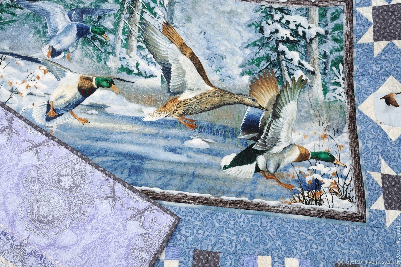 Подарок охотнику MALLARDS IN THE MARSH лоскутное покрывало, Одеяла, Москва,  Фото №1