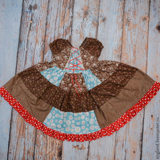 Одежда для девочек, ручной работы. Ярмарка Мастеров - ручная работа. Купить Платье кантри коричневое лоскутное розы горошки хлопок 3 4 г. Handmade.