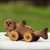 Куклы и игрушки ручной работы. Ярмарка Мастеров - ручная работа Тюлень деревянный - игрушка на колёсиках. Handmade.