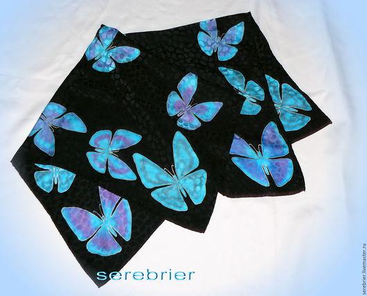 Шелковый платок с бирюзовыми бабочками. Натуральный шелковый жаккард. не боится влаги. не линяет. эффектный аксессуар.Этот платок продан, сделаю на заказ