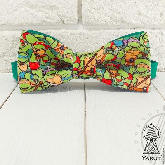 Галстуки, бабочки ручной работы. Ярмарка Мастеров - ручная работа. Купить Галстук бабочка Черепашки ниндзя  / бабочка-галстук зеленая. Handmade.