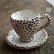 Посуда ручной работы. Ярмарка Мастеров - ручная работа Кофе-пара из раку-обжига LUNA. Handmade.