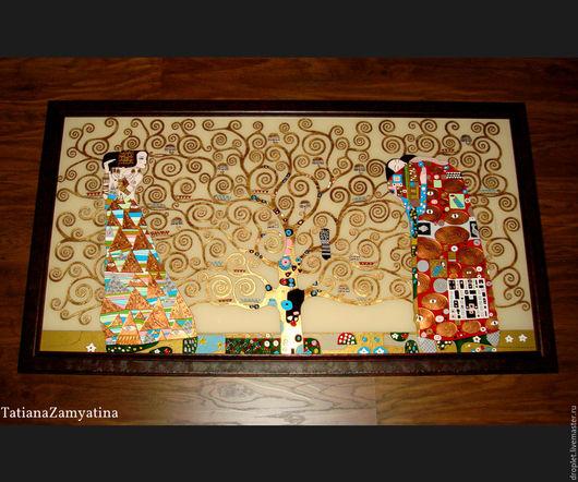 """Репродукции ручной работы. Ярмарка Мастеров - ручная работа. Купить Картина на стекле """"Древо жизни"""" по мотивам работы Г.Климта. Handmade."""