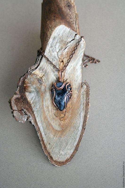 Кулоны, подвески ручной работы. Ярмарка Мастеров - ручная работа. Купить Синий кулон с натуральным камнем. Handmade. Тёмно-синий
