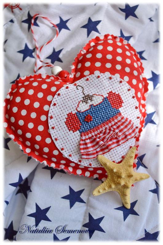 Подвески ручной работы. Ярмарка Мастеров - ручная работа. Купить Сердечко текстильное Sea dress, морская тема платье вышивка крестом. Handmade.