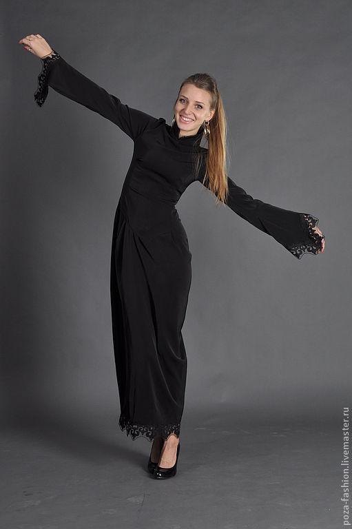 """Платья ручной работы. Ярмарка Мастеров - ручная работа. Купить Платье """"Готика"""". Handmade. Черный, платье по фигуре, дизайнерское платье"""
