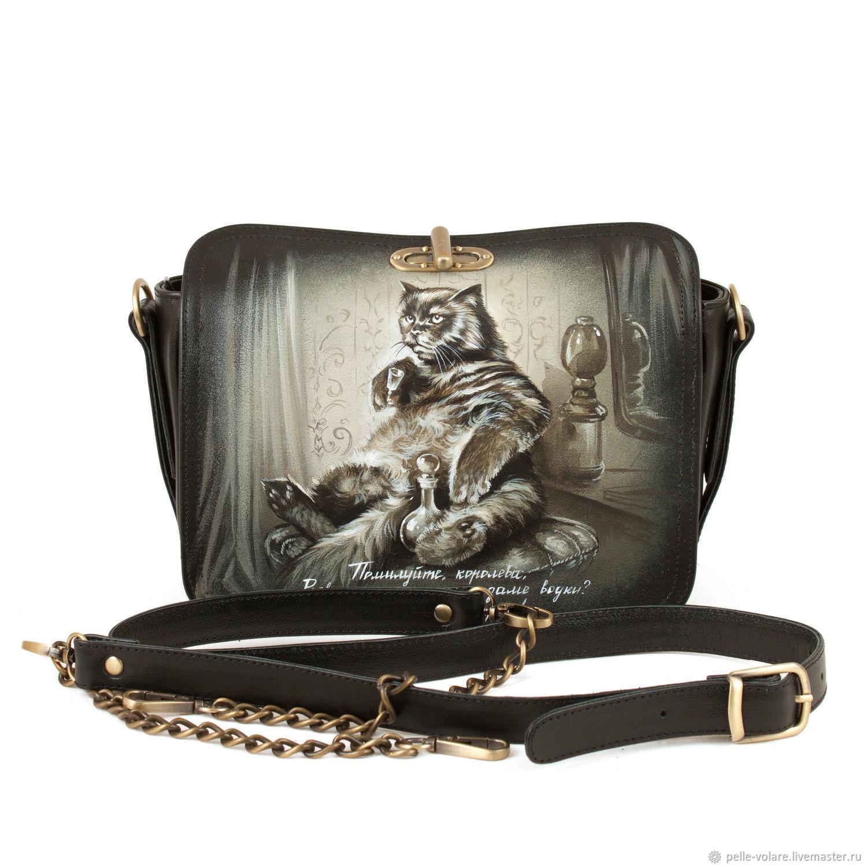 Women's bag satchel 'kot Begemot', Classic Bag, St. Petersburg,  Фото №1