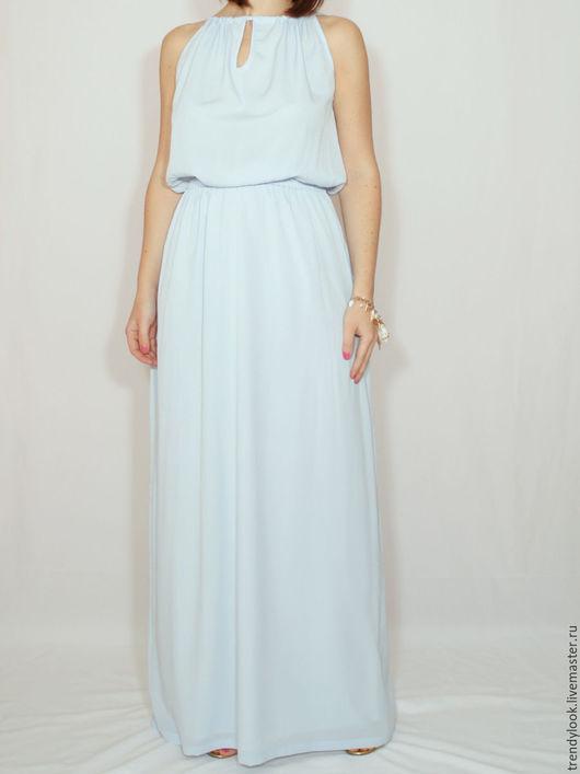 Платья ручной работы. Ярмарка Мастеров - ручная работа. Купить Светло-голубое платье из шифона, длинное летнее платье. Handmade.