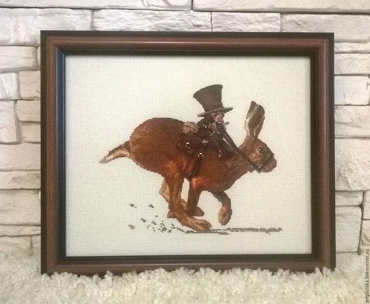 """Фэнтези ручной работы. Ярмарка Мастеров - ручная работа. Купить """"Верхом на зайце"""" - картина/ключница. Handmade. Комбинированный, вышивка крестиком, ключница"""
