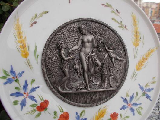 Винтажные предметы интерьера. Ярмарка Мастеров - ручная работа. Купить Декоративная настенная тарелка винтаж италия. Handmade. Серый