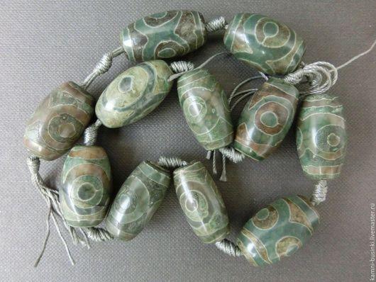 Тибетский Агат Дзи 3 глаза бусина бочонок зеленый. Бусины агата дзи для колье, агат Дзе бусины для браслетов, агат дзи бусина для серег.