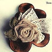 """Украшения ручной работы. Ярмарка Мастеров - ручная работа Льняная брошь заколка """"Charm of rose"""".. Handmade."""