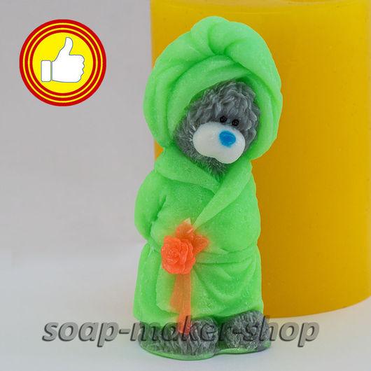 Материалы для косметики ручной работы. Ярмарка Мастеров - ручная работа. Купить Силиконовая форма для мыла «Тедди в халате 3D». Handmade.