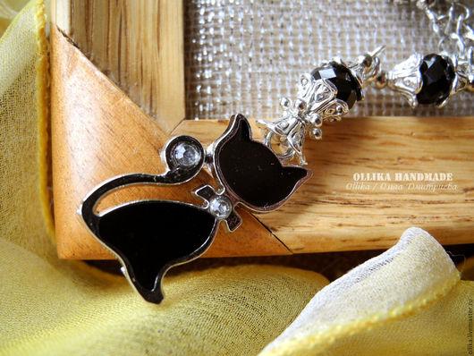 Подвеска Черная Кошечка, цепочка под серебро, длинное колье