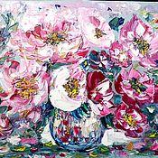 Картины ручной работы. Ярмарка Мастеров - ручная работа Картина Букет в фарфоровой вазе(масло,холст),50Х70. Handmade.