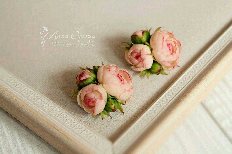 Брошь с миниатюрными персиковыми пионами, Броши, Краснодар, Фото №1