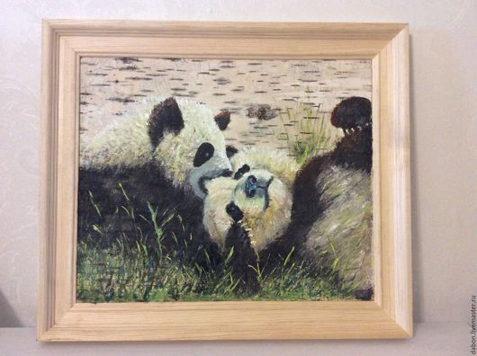Животные ручной работы. Ярмарка Мастеров - ручная работа. Купить Картина на бересте Панды. Handmade. Белый, картина в подарок