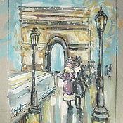 """Картины и панно ручной работы. Ярмарка Мастеров - ручная работа Графика """"У Триумфальной арки"""" формат А4. Handmade."""