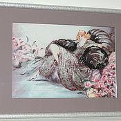 Картины и панно ручной работы. Ярмарка Мастеров - ручная работа Шикарная дама на диване. Handmade.