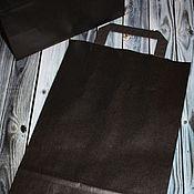 Материалы для творчества ручной работы. Ярмарка Мастеров - ручная работа Крафт пакет чёрный с ручками. Handmade.