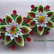 Работы для детей, handmade. Livemaster - original item Hair scrunchies Summer day in the style of kanzashi. Handmade.