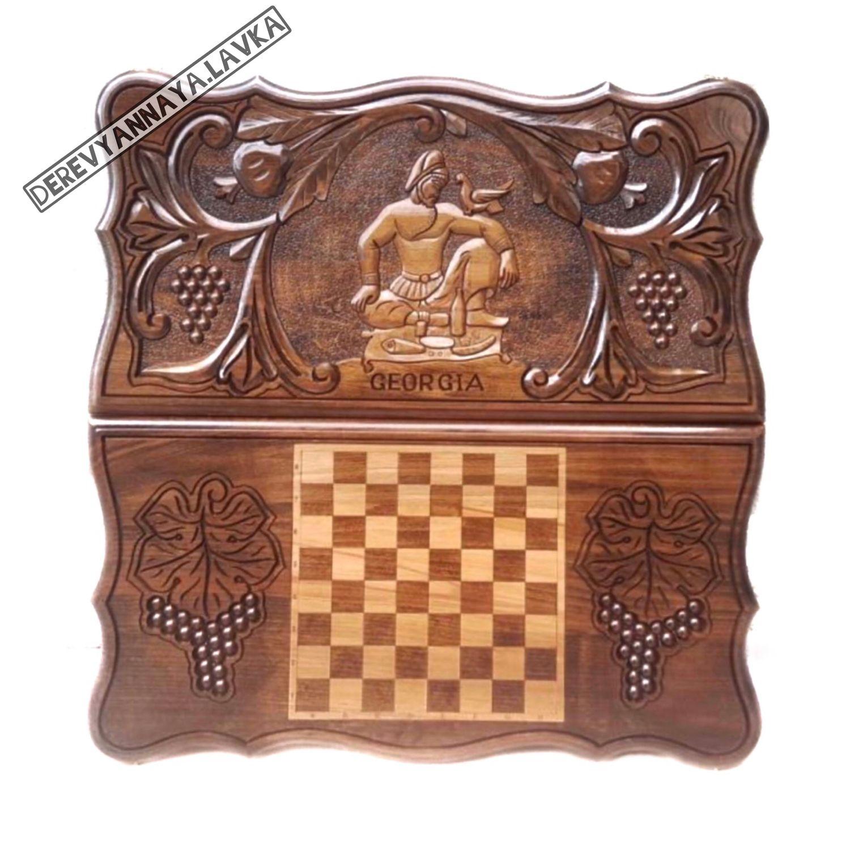Backgammon carved 'Georgian' Art. .082, Backgammon checkers, Moscow,  Фото №1