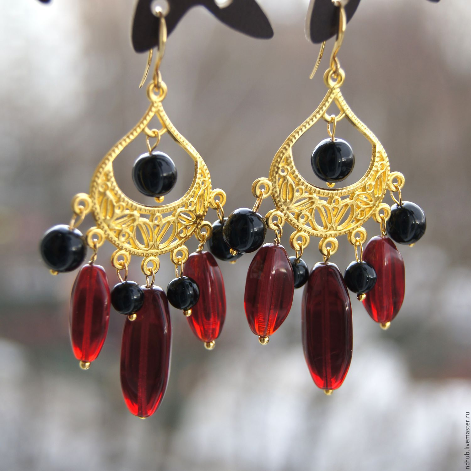 Earrings In The Spanish Style Red And Black Gold