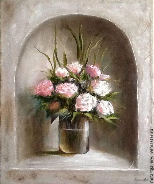 Картины цветов ручной работы. Ярмарка Мастеров - ручная работа. Купить Букет белых роз. Handmade. Белый, картина маслом