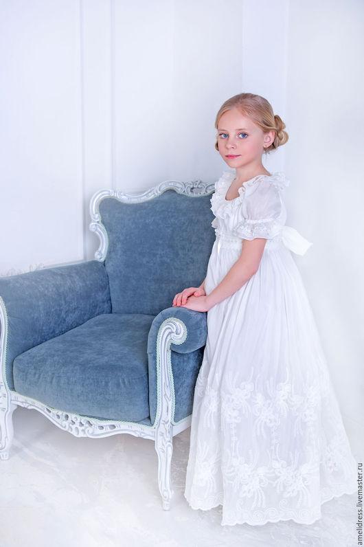 Одежда для девочек, ручной работы. Ярмарка Мастеров - ручная работа. Купить Гармония. Handmade. Белый, шёлк