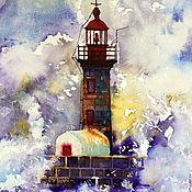 """Картины и панно ручной работы. Ярмарка Мастеров - ручная работа Маяк Акварель море маяк """"Страж"""". Handmade."""
