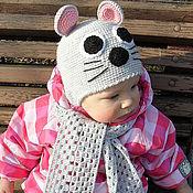 """Работы для детей, ручной работы. Ярмарка Мастеров - ручная работа Шапочка и шарфик """"Маленькая мышка"""". Handmade."""